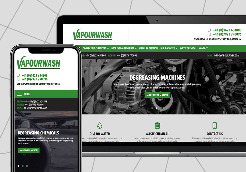 content management website design example vapourwash international ltd