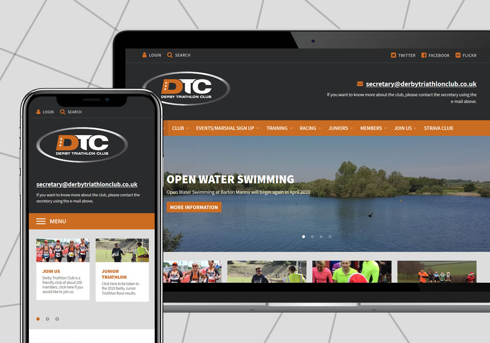 cms website design example derby triathlon club