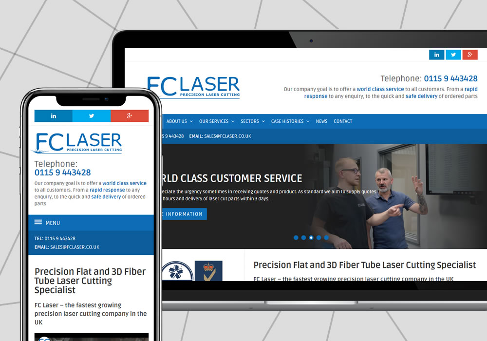 cms web design example fc laser ltd