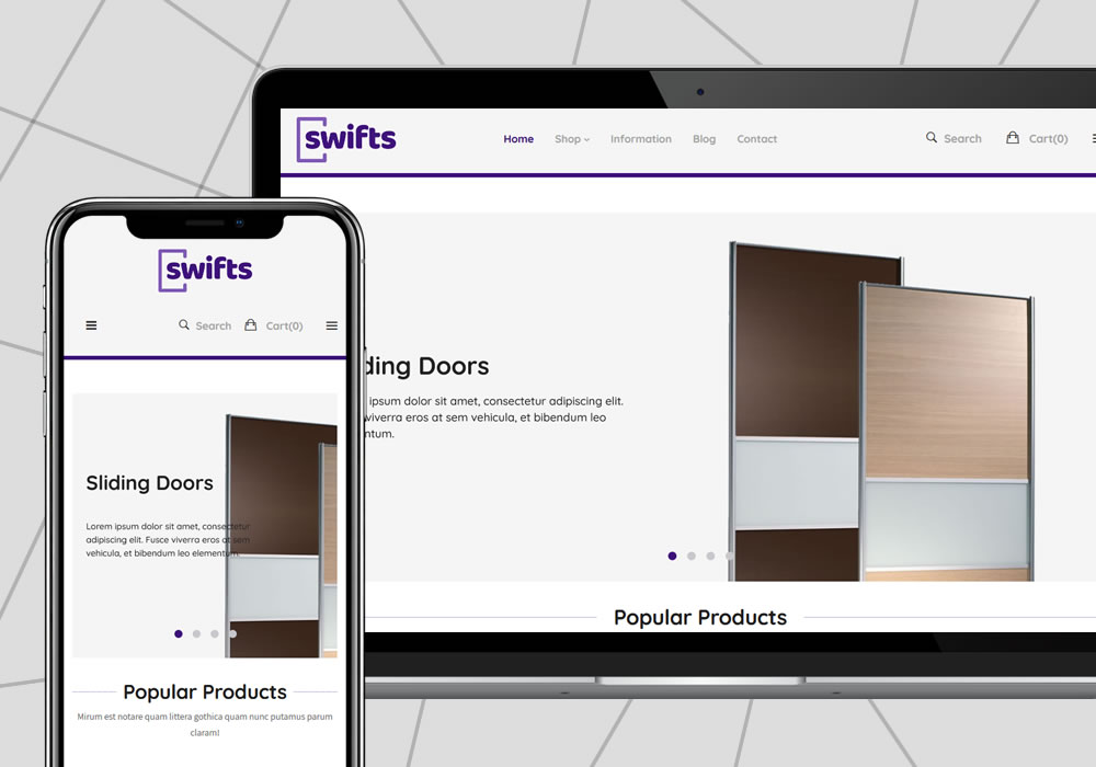 e-commerce web design example swifts sliding doors