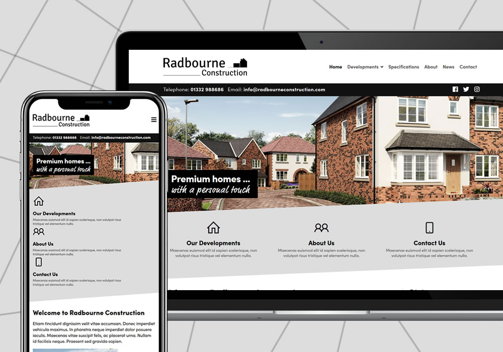 website design example radbourne construction