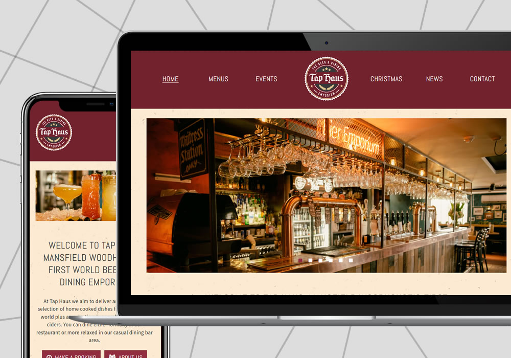 website design example the tap haus mansfield
