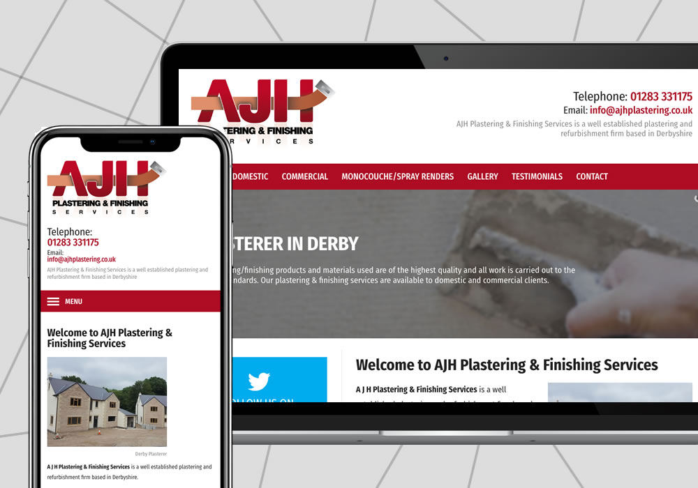 web design example ajh plastering and finishing services