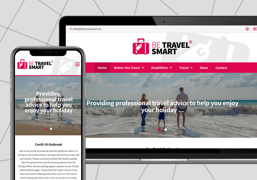 web design example be travel smart