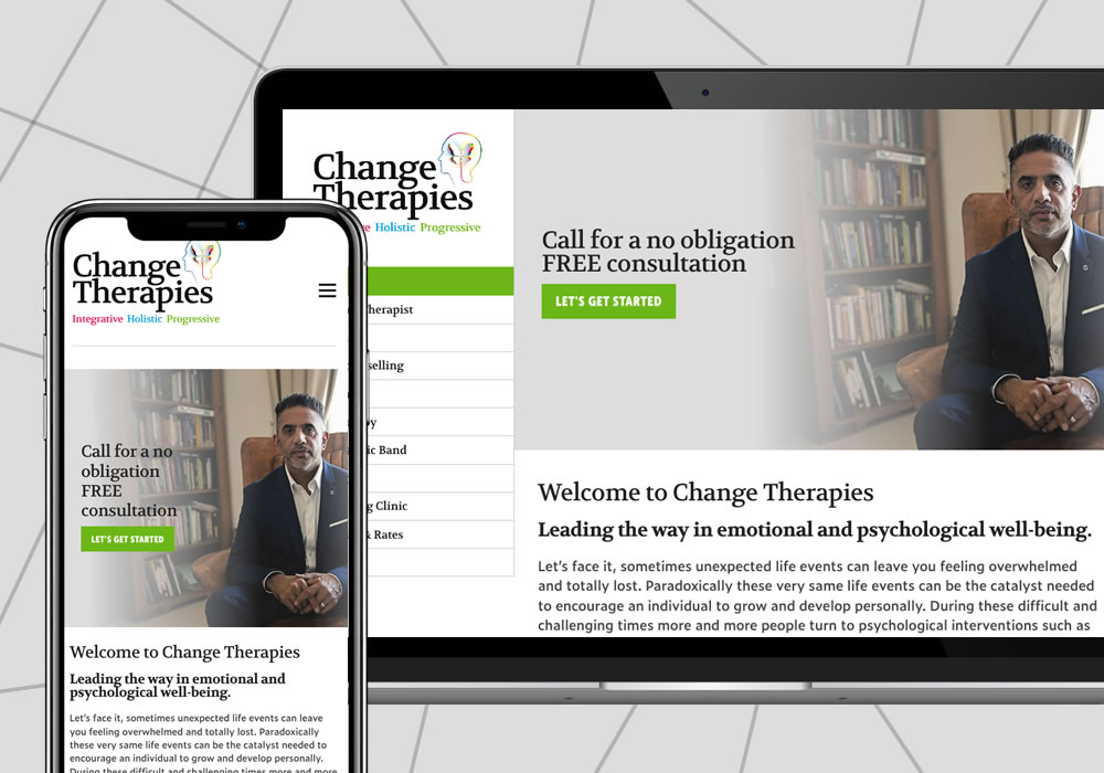 content management website design example for change therapies