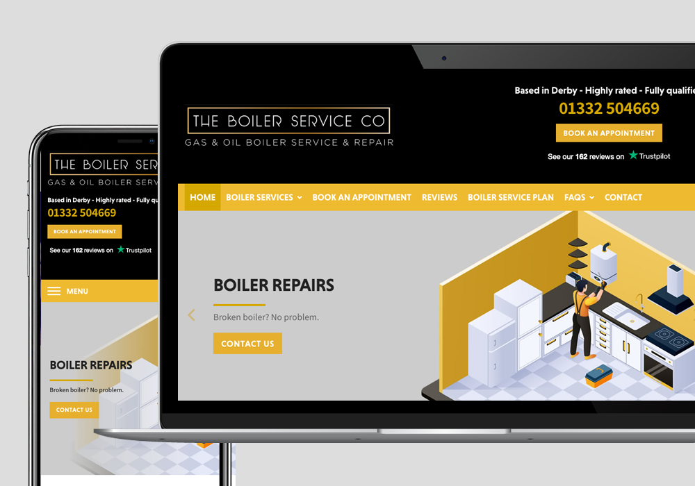 cms website design example for the boiler service company